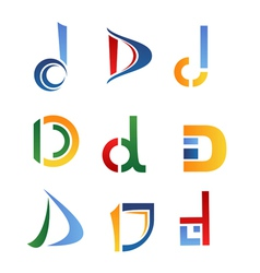 D alphabet symbols and elements of letter d vector