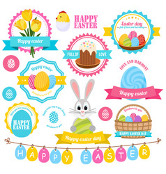 Easter colorful labels set vector