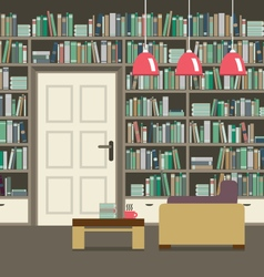 Empty reading seat with bookcase vector