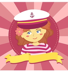 Girl with captain hat in circle banner vector