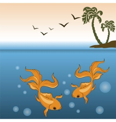 Gold fish underwater vector