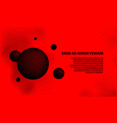Halftone 3d black spheres on a red background vector