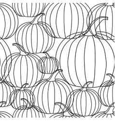 halloween background - black line pumpkin on vector image