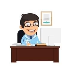 Head physician at his desk vector
