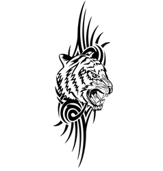 head tiger with patterns vector image vector image