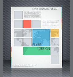 layout business flyer with map magazine cover vector image