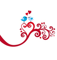 love birds with heart swirl vector image vector image