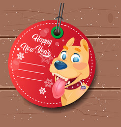 new year sale tag red with dog holiday discount on vector image vector image