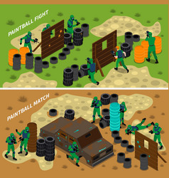 Paintball isometric banners vector