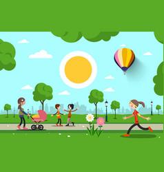 people in city park cartoon vector image