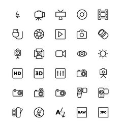 Photography line icons 2 vector
