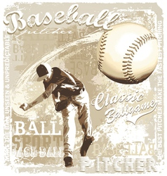 pitching baseball vector image vector image