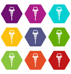 pneumatic hammer icon set color hexahedron vector image