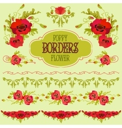 Poppy flower border elements set bouquets and vector