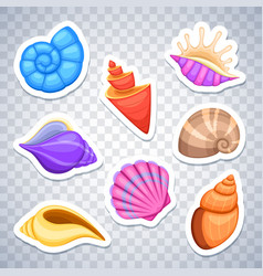 sea shells stickers set vector image