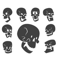 Skull bones human face halloween horror crossbones vector