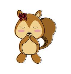 squirrel happy cute animal cartoon icon image vector image vector image
