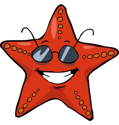 starfish in sunglasses vector image vector image