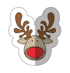 sticker colorful cartoon funny face reindeer vector image vector image