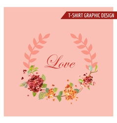 Vintage hortensia floral graphic design vector