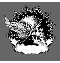 Retro motorcycle t shirt design biker skull vector