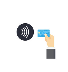 Pos terminal confirms contactless payment from vector