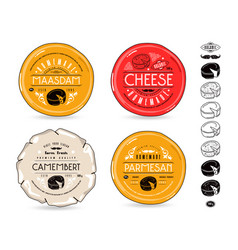 Set of template labels for cheese and icons vector