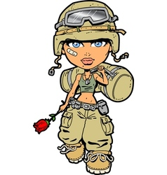Female soldier vector