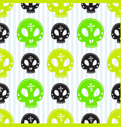 skull seamless pattern halloween background green vector image