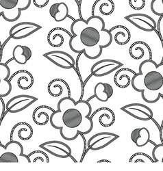 Seamless floral white black background vector