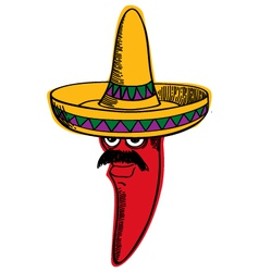 Red chili wearing a sombrero vector