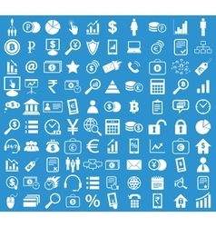 Management icon set blue vector