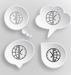 Globe and clock white flat buttons on gray vector