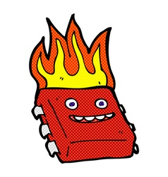 Comic cartoon red hot computer chip vector