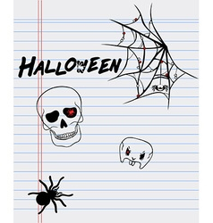 Halloween drawings on a sheet of paper vector