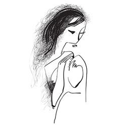 Art of line art - woman with long hair vector