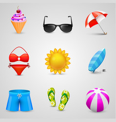 beach set of icons vector image vector image
