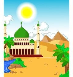Beautiful mosque with desert landscape background vector