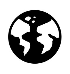 Black and white earth planet vector