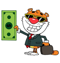 Cartoon Character Happy Tiger vector image