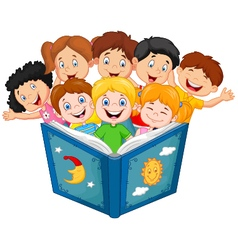 Cartoon little kid reading book vector image vector image