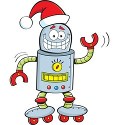 Cartoon robot wearing a Santa hat vector image vector image