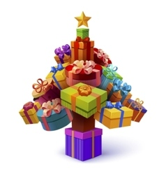 Christmas Tree Of Gift Boxes Composition vector image