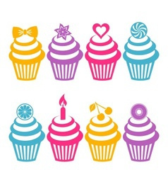 Colorful cupcake silhouettes vector image
