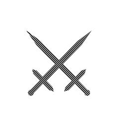 Crossed swords sign vector