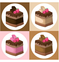 delicious chocolate cake collection vector image