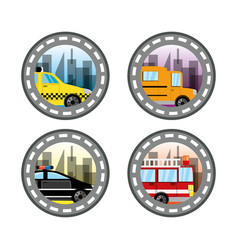 Emblem related with taxi bus police and fire vector