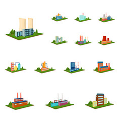 Factory and plant cartoon icons in set collection vector