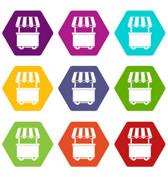 Food trolley with awning icon set color hexahedron vector