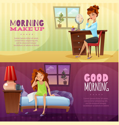 Good morning horizontal banners vector